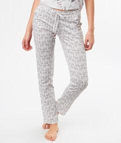 Пижамные брюки с принтом слоны серый.