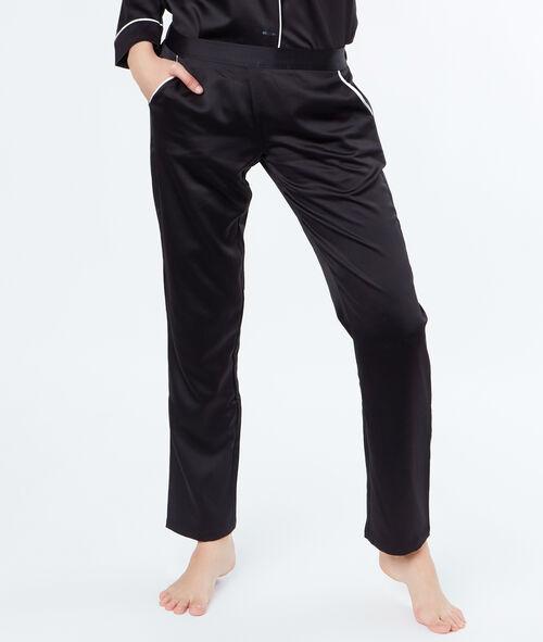 Атласные штаны с контрастными карманами