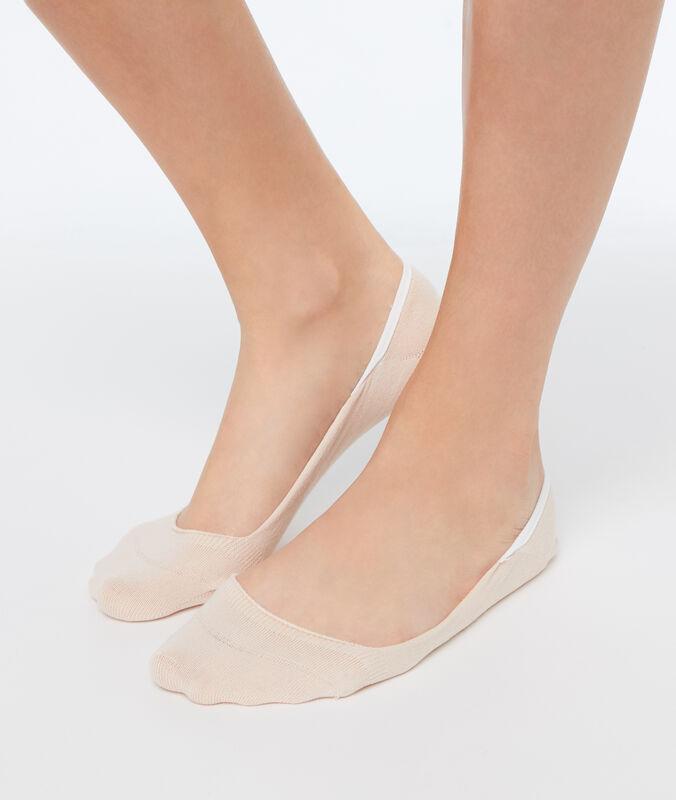 2 пары невидимых коротких носков персиковый.