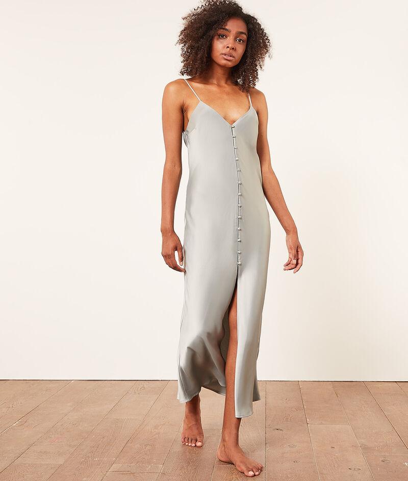 Атласное платье-комбинация с обтяжными пуговицами;${refinementColor}