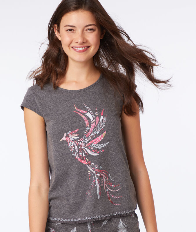 T-shirt imprimé oiseau gris.