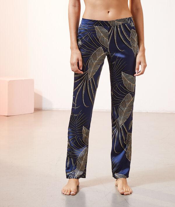 Атласные брюки с принтом листьев;${refinementColor}