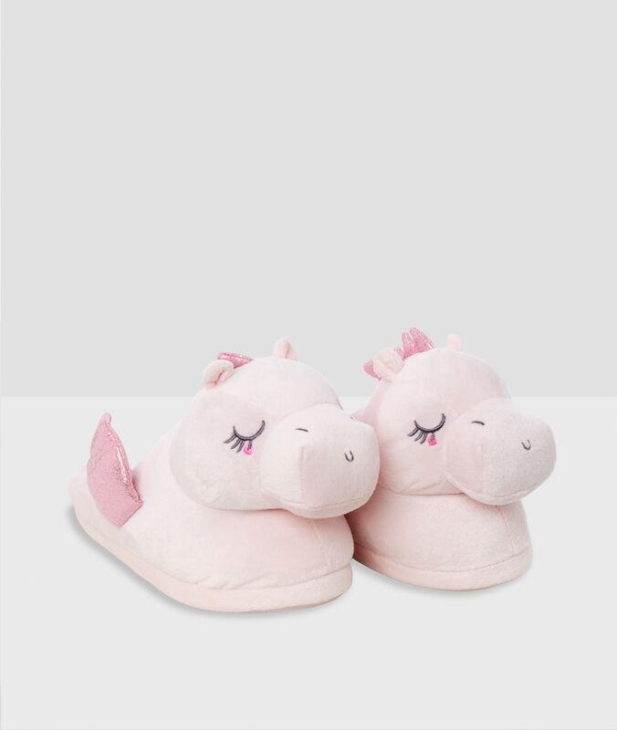 Тапочки с объемными драконами розовый.