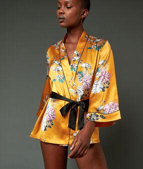 Халат в стиле кимоно из 100% шелка  охра.