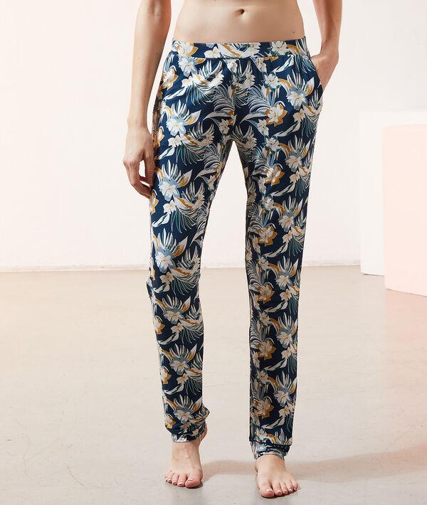Пижамные брюки с тропическим принтом;${refinementColor}