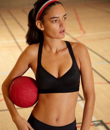 Спортивный бюстгальтер-брасьер с эффектом пуш-ап и спинкой рейсербэк - средняя поддержка черный.