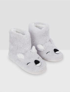 Тапочки-полусапожки с коалой серый.