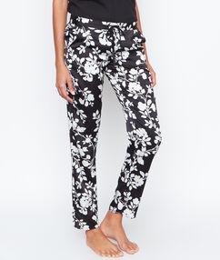 Атласные брюки с цветочным принтом черный.