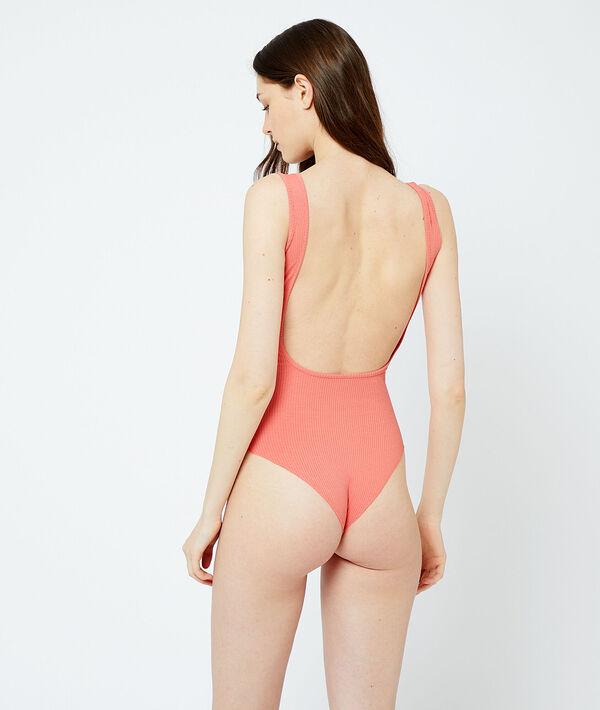 Боди с открытой спиной из ткани в рубчик - KAYA - Розовый - L фото