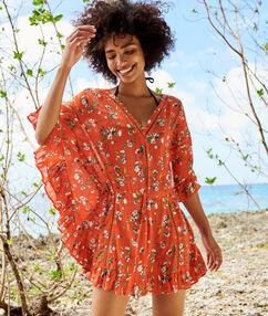 Пляжная туника в цветочек красный.