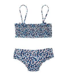 Купальник для девочки топ + плавки с принтом liberty синий.