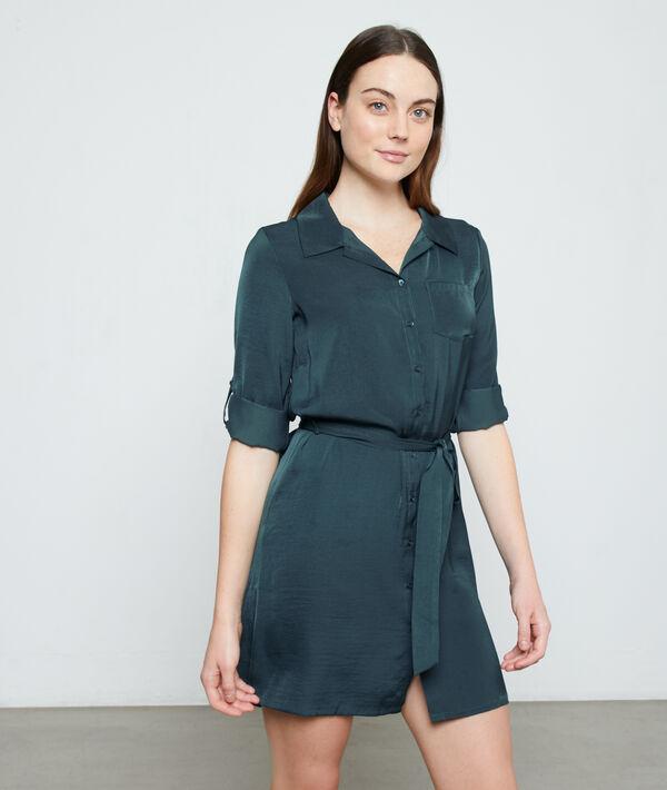 Ночная рубашка с поясом - AKELA - Зелёный - S фото