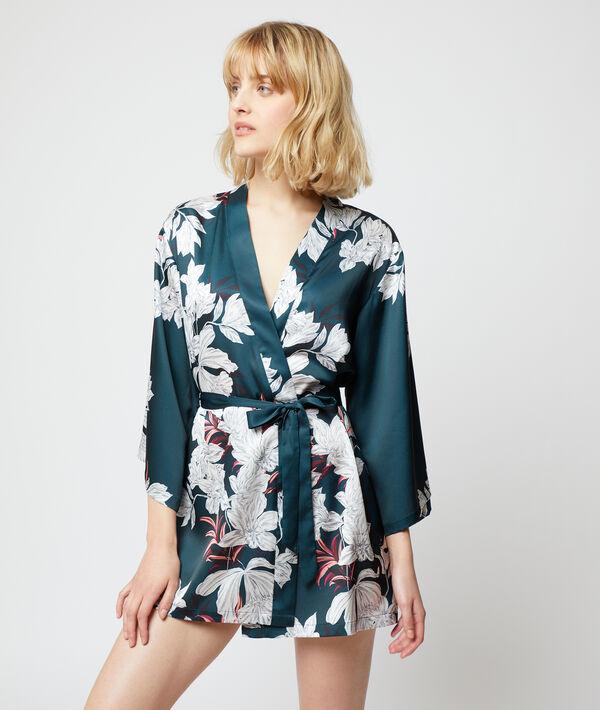 Атласный халатик-кимоно с цветочным принтом;${refinementColor}