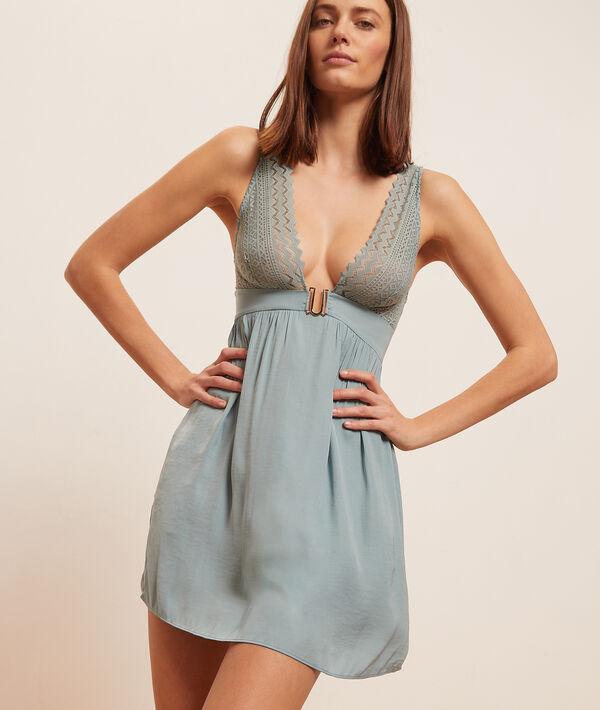 Атласное платье-сорочка с кружевным лифом;${refinementColor}