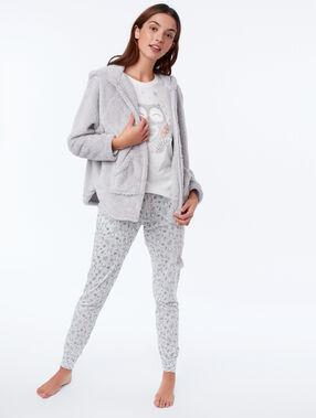 Пижама из 3 предметов с совами серый.