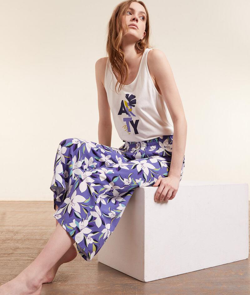 Укороченные брюки с цветочным принтом;${refinementColor}