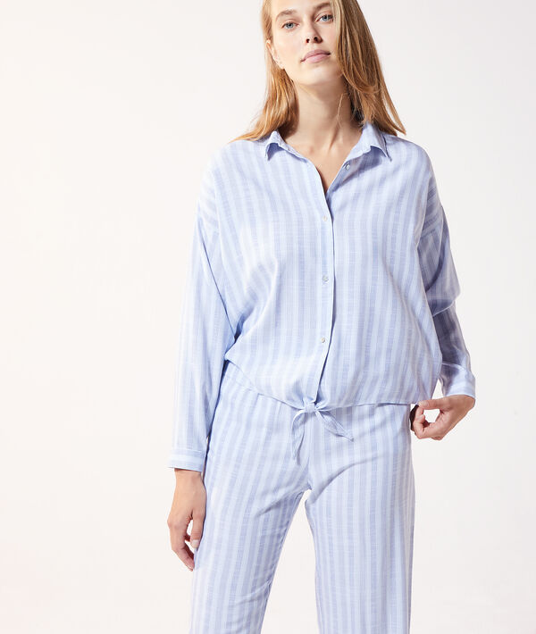 Пижамная рубашка в полоску с узлом;${refinementColor}