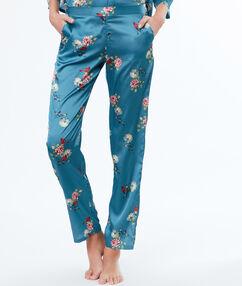 Атласные брюки с цветочным принтом синий.