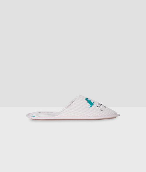 Туфли без задника в полоску с надписью