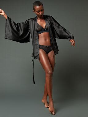 Халат в стиле кимоно из 100% шелка черный.