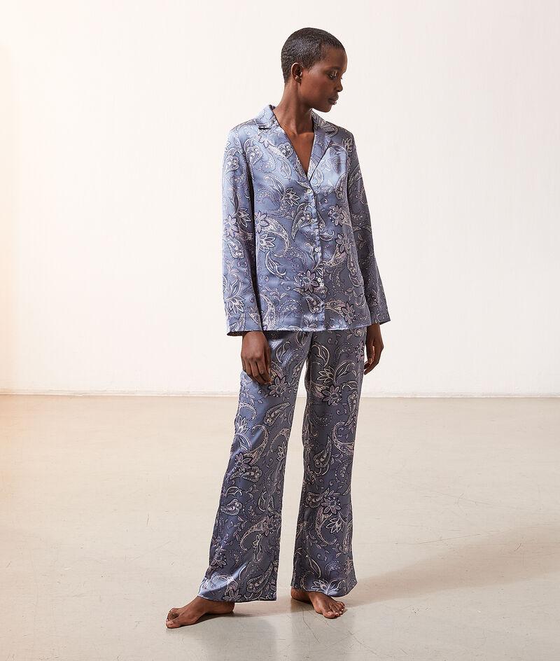 Атласные брюки с принтом пейсли;${refinementColor}