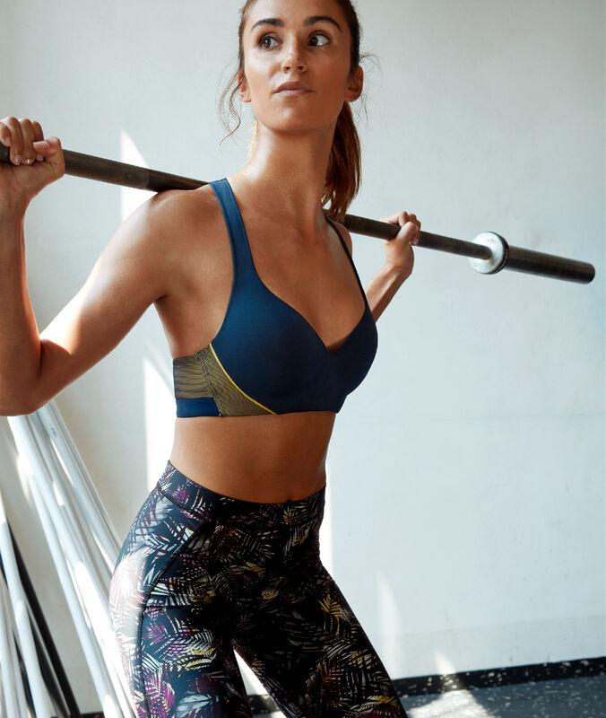 Спортивный бюстгальтер - сильная поддержка темно-синий.