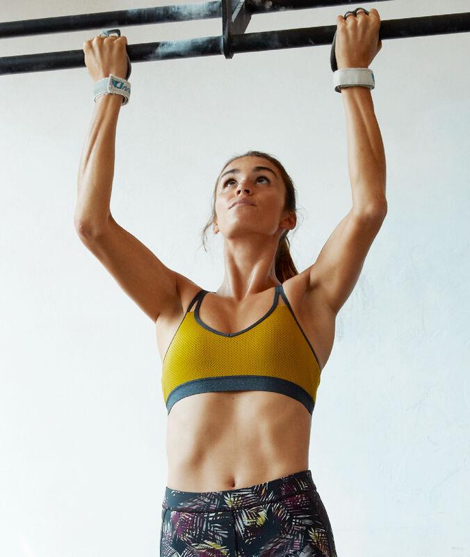 Спортивный бюстгальтер, съемные подкладки - средняя поддержка салатовый абсент.