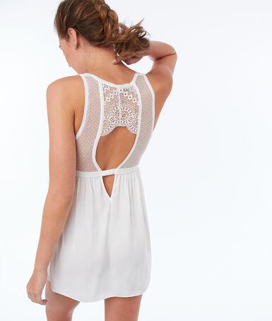 Ночная рубашка из кружева с геометрическим узором экрю.