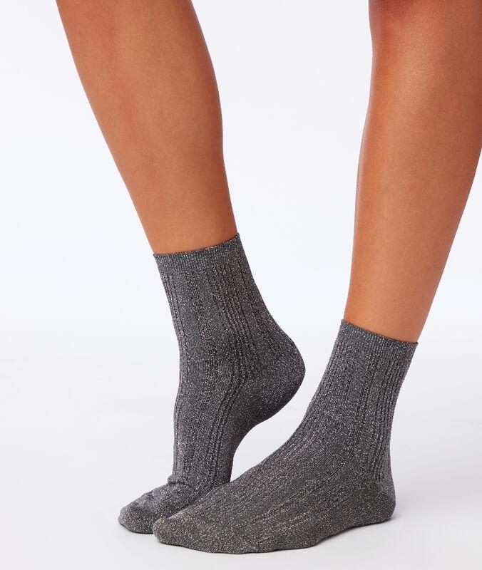 Носки из металлизированного волокна серебристый.