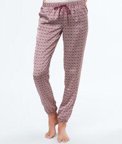 Атласная пижама с принтом бордовый.