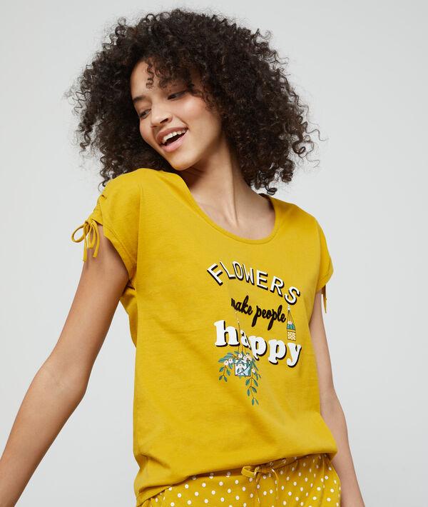 Футболка с надписью 'flowers make people happy' из био-хлопка