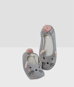 "Тапочки ""мышки"" серый."