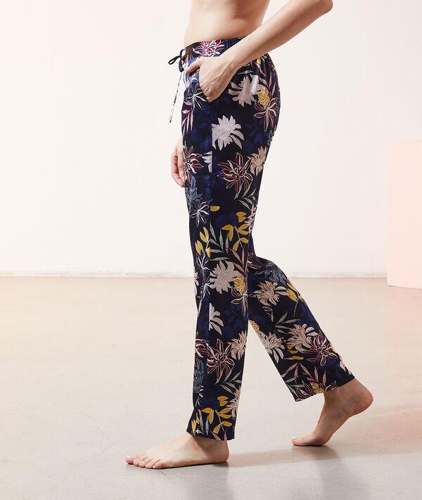 Атласные брюки с принтом - SALI - Темно-синий - M