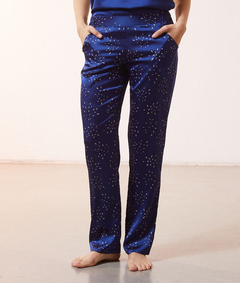 Атласные брюки с контрастным принтом;${refinementColor}