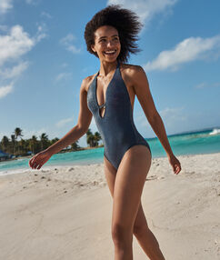 Слитный купальник с открытой спиной синий/металлизированные нити.