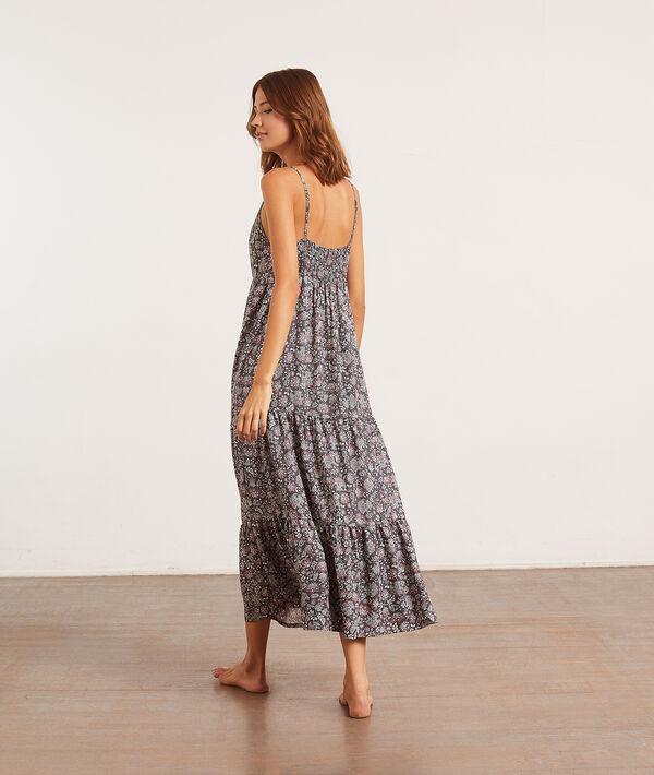 Платье с цветочным принтом и вырезом;${refinementColor}