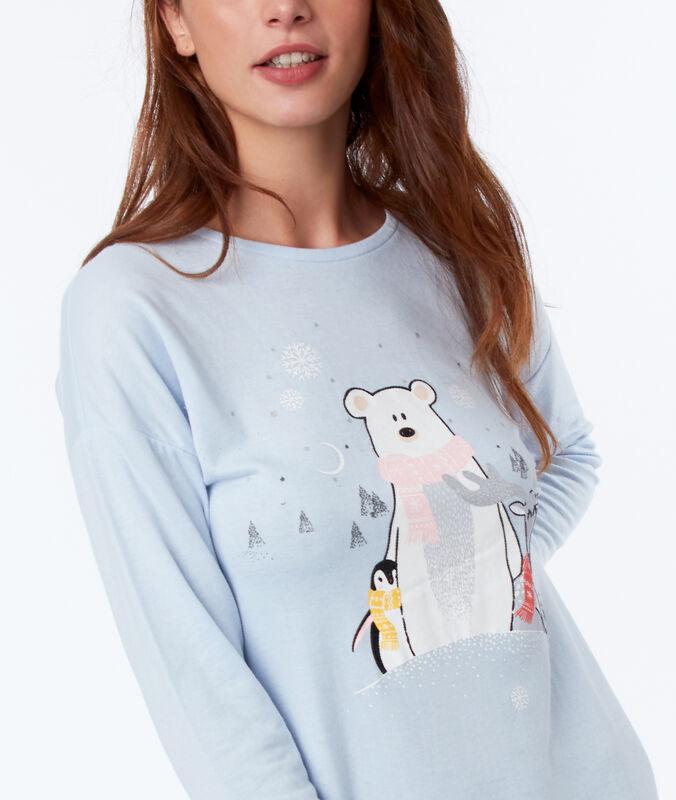 Ночная рубашка с животным принтом голубой.