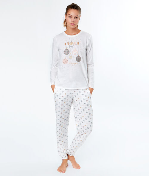 Пижама-тройка с принтом ёлочные шары