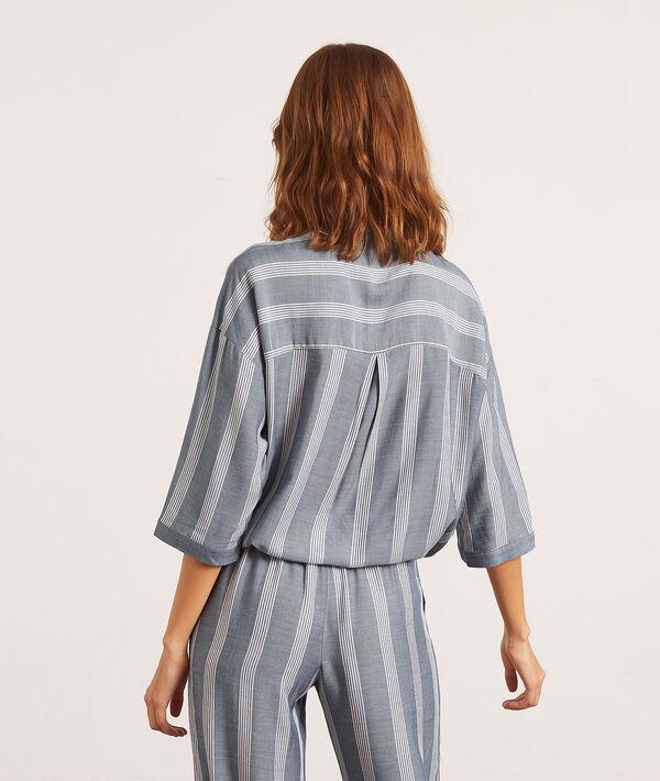 Рубашка в полоску с воротником-стойкой;${refinementColor}