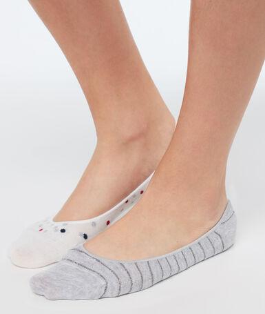 2 пары невидимых коротких носков серый/бежевый.