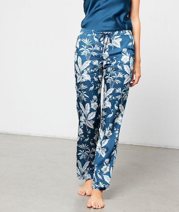 """Атласные брюки с принтом """"листва"""""""