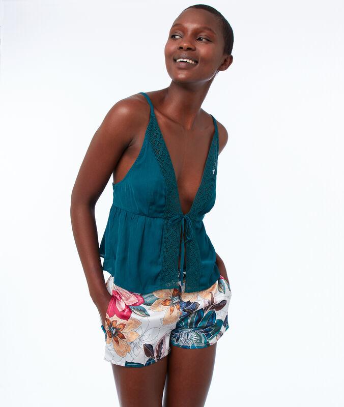 Атласные шорты с цветочным узором экрю.