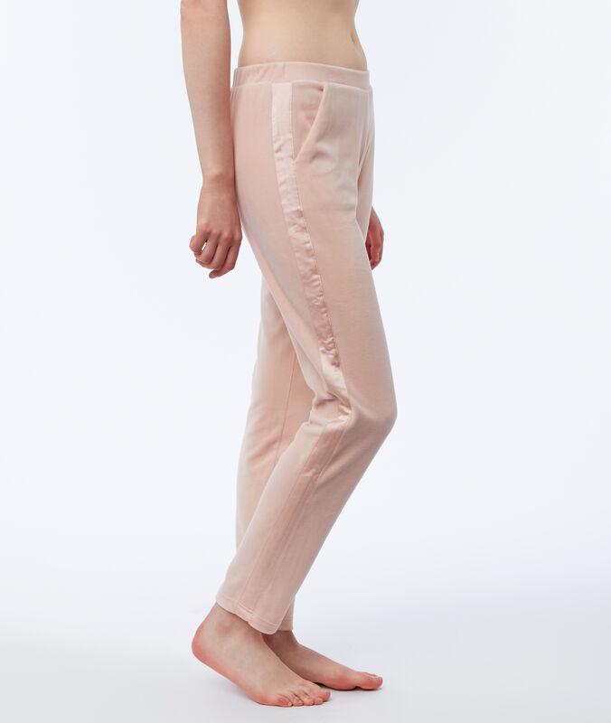 Велюровые домашние штаны с атласной полосой розовый.