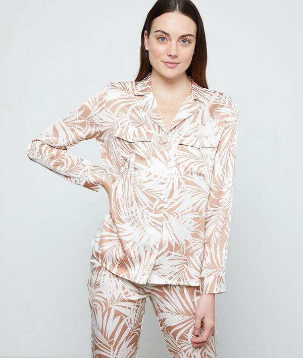 Пижамная рубашка с принтом 'листья' - AWARA - Бежевый - L фото
