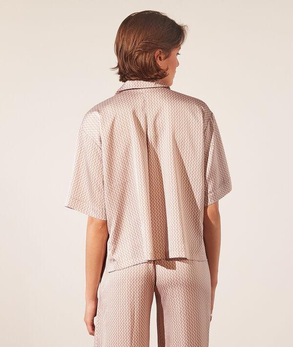 Атласная рубашка с принтом;${refinementColor}