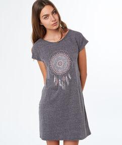 Ночная рубашка с принтом ловец снов серый.