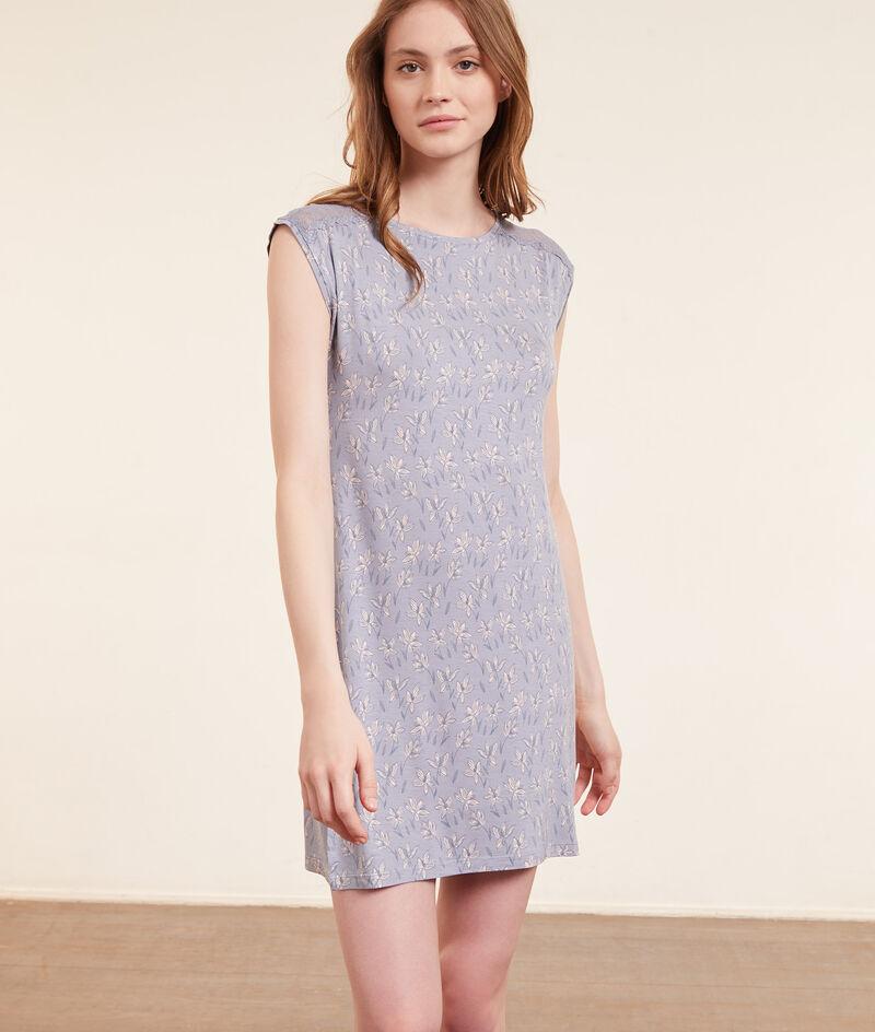 Платье-сорочка с принтом и кружевом;${refinementColor}