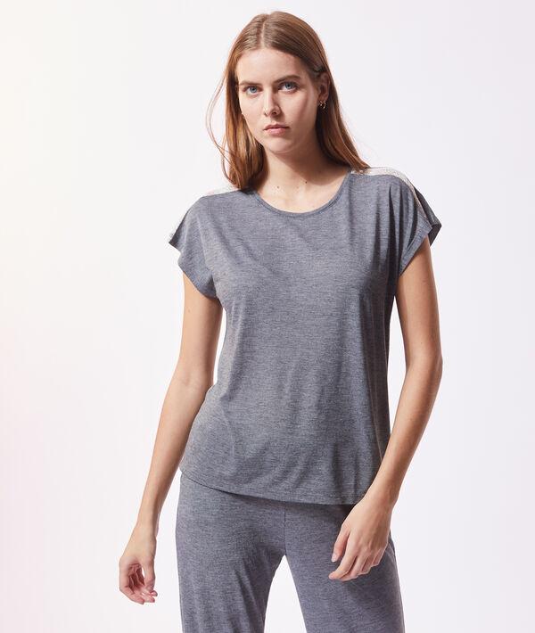 Меланжевая футболка с кружевной отделкой;${refinementColor}