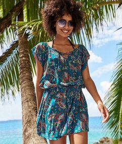 Пляжная туника с принтом разноцветный.
