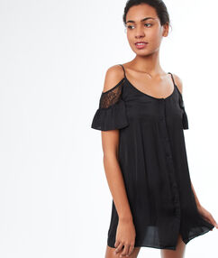 Ночная рубашка с открытыми плечиками черный.